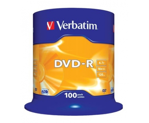 100 UNIDADES DVD-R VERBATIM ADVANCED AZO 16X 4.7GB TARRINA 43549