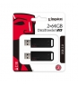 MEMORIA USB 2.0 KINGSTON FLASH 128GB 2X 64GB DT20 2PK NEGRO DT20/64GB-2P